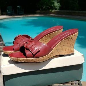 Coldwater Creek Red Vamp Wedge Heel sz 9